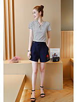 Women's Casual/Daily Cute Summer T-shirt Pant Suits,Striped V Neck Short Sleeve Inelastic