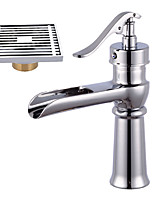 Contemporary Centerset Waterfall Widespread Pre Rinse with  Ceramic Valve Single Handle One Hole for Chrome Bathroom Sink Faucet