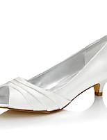 Damen Hochzeit Schuhe Seide Frühling Sommer Niedriger Absatz Elfenbein 2,5 - 4,5 cm