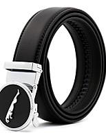 Men's Simple Jaguar Black Genuine Leather Alloy Automatic Buckle Waist Belt Work/Casual/Party All Seasons