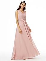 2017 LAN TING BRIDE Floor-length V-neck Bridesmaid Dress - Elegant Sleeveless Chiffon