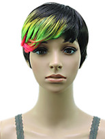 Woman Layered 1B/Green/Red Muti Color  High Temprature Fiber Synthetic Hair Party Wig