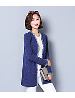Women's Party Regular Cardigan,Solid Round Neck Long Sleeve Silk Fall Semi-opaque Micro-elastic