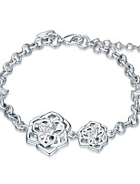 Exquisite Silver Plated Clear Crystal Sweet Twins Flower Chain & Link Bracelets Jewellery for Women Accessiories