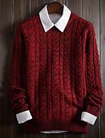 Для мужчин Повседневные Обычный Пуловер Рисунок,Круглый вырез Длинный рукав Хлопок Осень Зима Толстая Слабоэластичная
