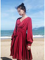 Для женщин На каждый день С летящей юбкой Платье Однотонный,V-образный вырез Выше колена Длинный рукав Хлопок Лето С низкой талией