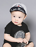 Little Boy's Cap Anchor Letter Embroidery Striped Soft Brim Hat