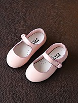 Girls' Flats First Walkers Leatherette Spring Fall Casual Walking First Walkers Magic Tape Low Heel Blushing Pink Flat