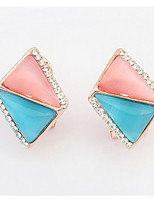Euramerican Rhinestone  Opal Triangle  Classic Elegant Luxury Women's Daily Stud Earrings Gift Jewelry