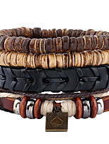New Nation Style Coconut Shell Beaded Leather Braided Bracelet