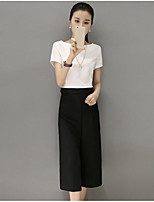 Women's Going out Casual/Daily Simple Summer T-shirt Pant Suits,Solid Round Neck Short Sleeve