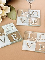 Endless Love Glass  Coasters Favors - 2pcs/box - Bridesmaids / Bachelorette / Wedding Keepsakes