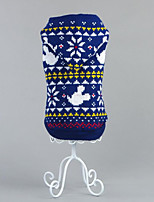 Dog Sweater Dog Clothes Christmas Snowflake Blue Ruby