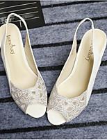 Femme Chaussures à Talons A Bride Arrière Cuir Eté Décontracté A Bride Arrière Gros Talon Blanc Noir 7,5 à 9,5 cm