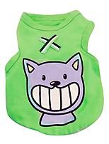 Chat Chien Tee-shirt Gilet Vêtements pour Chien Décontracté / Quotidien Animal Rouge Vert Bleu Rose