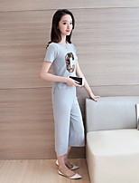 Women's Casual/Daily Sports Simple Active T-shirt Pant Suits,Solid Letter Round Neck Half Sleeve