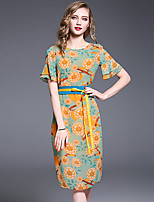 YHSPWomen's Going out Casual/Daily Simple Cute Sophisticated A Line Sheath DressFloral Printing Round Neck Midi Short Sleeve Polyester Summer