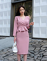 Women's Casual/Daily Simple All Seasons Blazer Dress Suits,Solid Deep V Long Sleeve Cotton