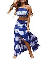 Women's Going out Casual/Daily Club Sexy Simple Street chic Bare Midriff Spring Summer Tank Top Skirt SuitsColor Block Halter Sleeveless Backless