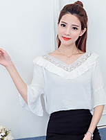 Women's Going out Cute Summer Blouse,Solid V Neck Half Sleeve Polyester
