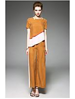 Manches Ajustées Pantalon Costumes Femme,Couleur Pleine Quotidien Moderne Eté Manches Courtes Col Arrondi