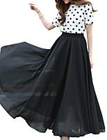 Shaperdiva Vintage Chiffon Retro Elastic Pleated Long Maxi Skirts