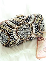 Women Evening Bag PU All Seasons Event/Party Formal Baguette Rhinestone Magnetic Black