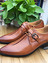 Men's Oxfords Comfort Real Leather Cowhide Spring Wedding Comfort Burgundy Brown Black Flat