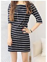 Damen Lose Kleid-Ausgehen Einfach Solide Damast Rundhalsausschnitt Mini Baumwolle Sommer Mittlere Hüfthöhe Mikro-elastisch Mittel