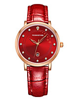 Women's Fashion Watch Quartz Water Resistant / Water Proof Three Time Zones Leather Band Sparkle Charm Black White Red