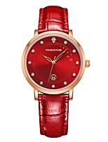 Mulheres Relógio de Moda Quartzo Impermeável Três Fusos Horários Couro Banda Brilhante Pendente Preta Branco Vermelho