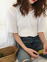 Women's Casual/Daily Street chic Short Cardigan,Solid Round Neck Short Sleeve Cotton Summer Thin Micro-elastic