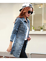 Women's Casual/Daily Vintage Simple Spring Fall Denim Jacket,Solid Shirt Collar Long Sleeve Long Others