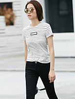 Damen Gestreift Einfach Alltag Normal T-shirt,Rundhalsausschnitt Kurzarm Baumwolle