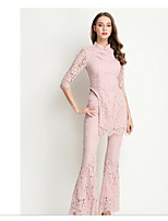 Women's Casual/Daily Simple Spring T-shirt Pant Suits,Solid Round Neck ½ Length Sleeve