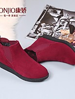 Women's Boots Fashion Comfort PU Winter Daily Fashion Comfort Burgundy Black Flat