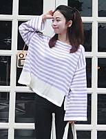 Damen Standard Strickjacke-Lässig/Alltäglich Einfach Solide Rundhalsausschnitt Langarm Baumwolle Polyester Sommer Mittel Mikro-elastisch