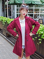 Women's Going out Casual/Daily Vintage Simple Fall Winter Coat,Solid Notch Lapel Long Sleeve Long Others