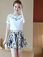 Damen Druck Einfach Lässig/Alltäglich T-Shirt-Ärmel Rock Anzüge,Rundhalsausschnitt Sommer Kurzarm Mikro-elastisch