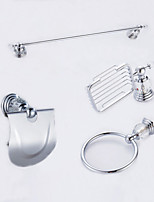 Mordern Diamonds 4PC Brass Bathroom Accessory Set Towel Bar Towel Ring Paper Holder Soap Dish