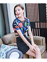 Women's Other Soak Off Summer T-shirt Skirt Suits,Floral Round Neck Short Sleeve