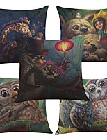 Set of 5 Cartoon Owl Pattern  Linen Pillowcase Sofa Home Decor Cushion Cover (18*18inch)