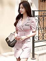 Women's Work Simple Sheath Dress,Solid V Neck Knee-length Short Sleeve Cotton Spring Summer Mid Rise Inelastic Medium