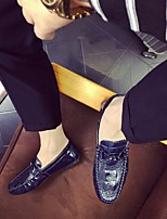 Men's Loafers & Slip-Ons Comfort Leather Tulle Spring Casual Comfort White Black Blue Flat