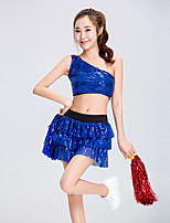 Devemos vestidos de traje de cheerleader Performance de mulheres de poliéster com lantejoulas 2 peças