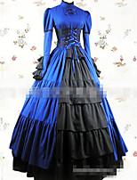 Une Pièce/Robes Gothique Rétro Lacets Cosplay Vêtrements Lolita Bleu Couleur unie Ras du Sol Jupe Robe Noeud Ruban Pour Tissu Matelassé