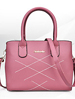 Women Tote PU All Seasons Formal Sports Casual Wedding Barrel Zipper Pink Gray Red Black Blue
