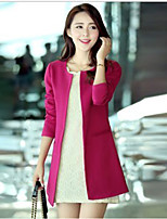 Women's Casual/Daily Work Simple Fall Blazer,Solid Round Neck Long Sleeve Long Cotton