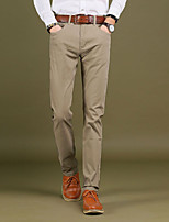 Men's Mid Rise Micro-elastic Straight Chinos PantsSimple Straight Slim Solid CR-7014