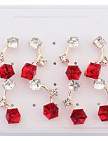 Korean Style Fashion Personalized Elegant Square Rhinestone Lady Party Stud Earrings Statement Jewelry